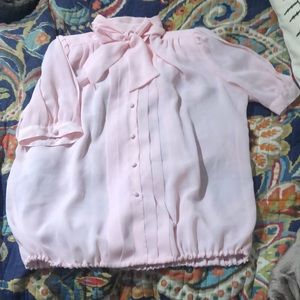 Vintage pink pussy bow blouse!